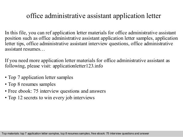 Office administrative assistant application letter office administrative assistant application letter in this file you can ref application letter materials for application letter sample thecheapjerseys Gallery