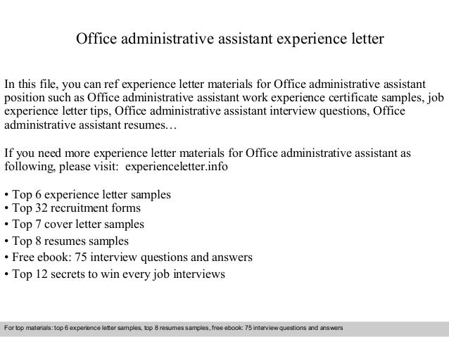 office assistant work experience