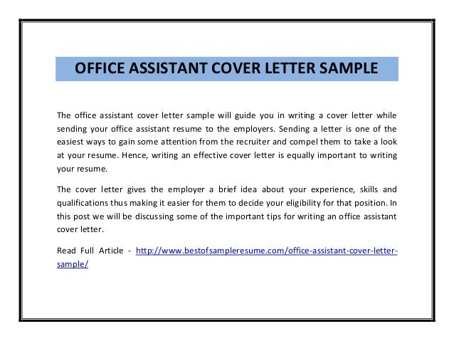 Cover Letter General Office Assistant