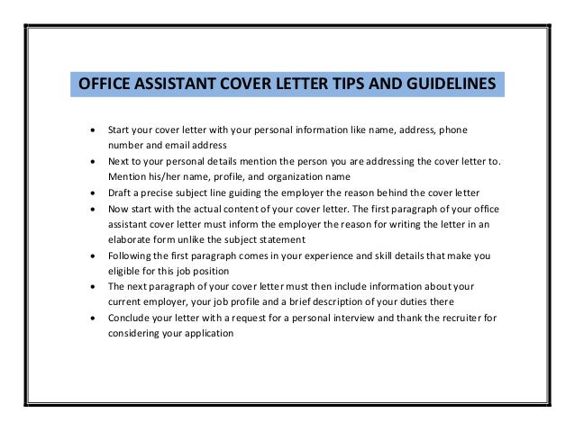 OFFICE ASSISTANT ...  Cover Letter For Office Assistant