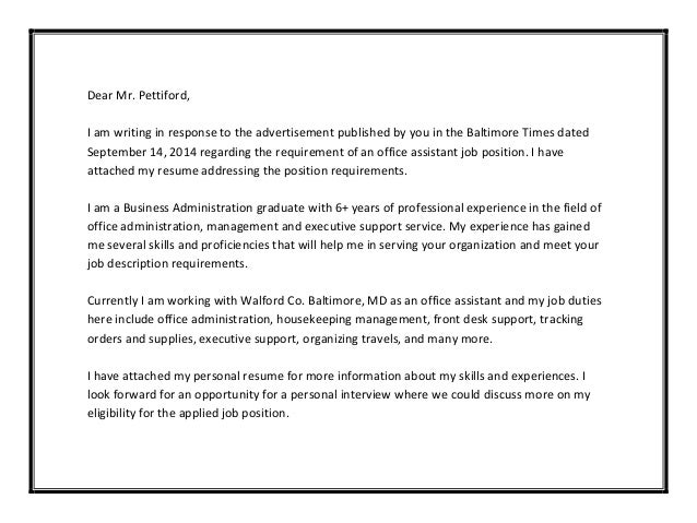 Cover Letter Samples Response To Ad