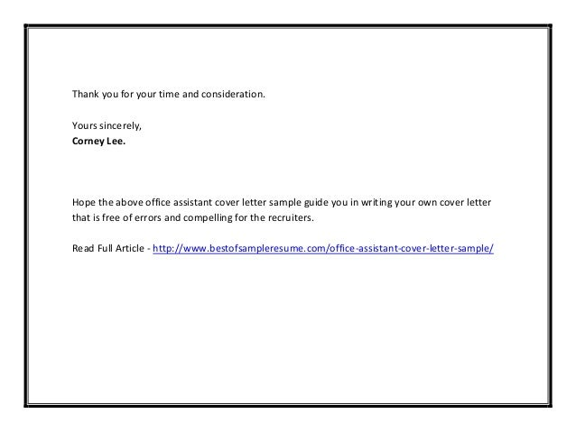 cover letter thank you for your consideration - office assistant cover letter sample