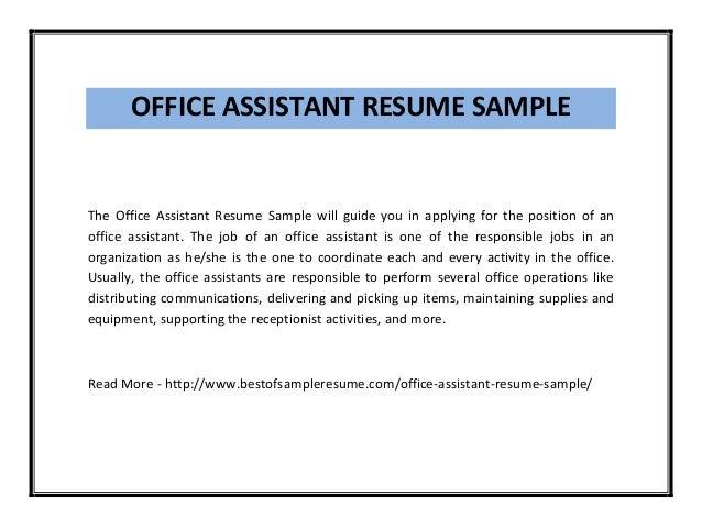 Examples Of Office Assistant Resumes | Resume Examples And Free
