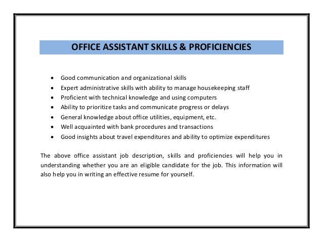 OFFICE ASSISTANT ...  Resume For Office Assistant