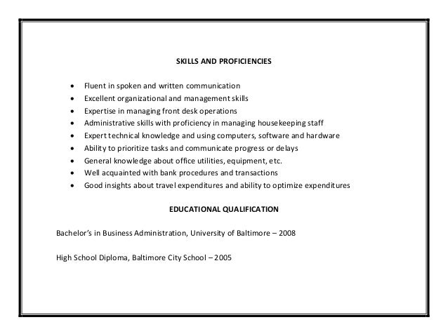 SKILLS ...  Administrative Skills For Resume