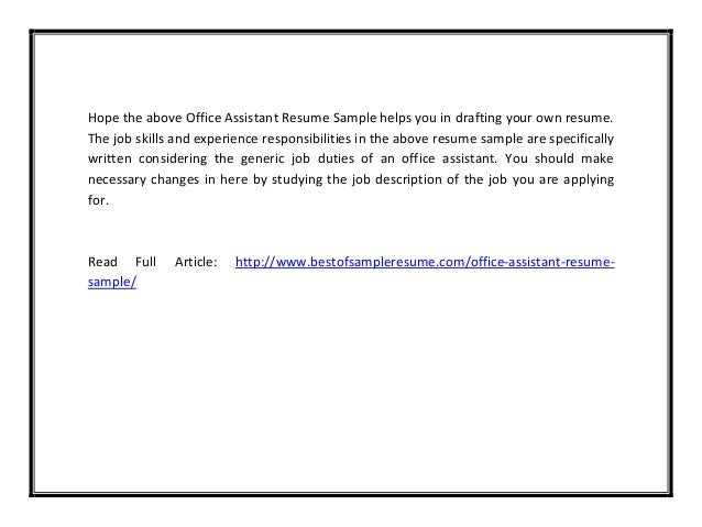 Office assistant resume sample pdf – Office Assistant Duties
