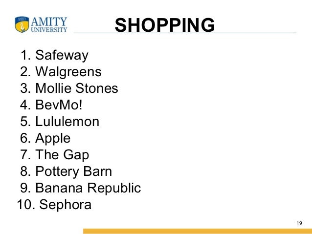 SHOPPING 1. Safeway 2. Walgreens 3. Mollie Stones 4. BevMo! 5. Lululemon 6. Apple 7. The Gap 8. Pottery Barn 9. Banana Rep...
