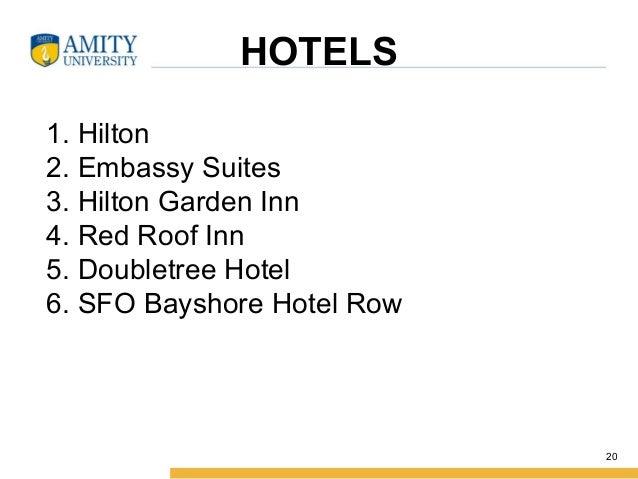 HOTELS 1. Hilton 2. Embassy Suites 3. Hilton Garden Inn 4. Red Roof Inn 5. Doubletree Hotel 6. SFO Bayshore Hotel Row 20