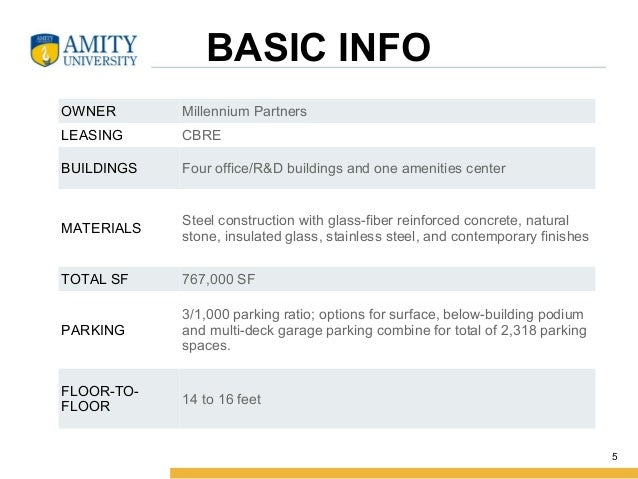 BASIC INFO OWNER MillenniumPartners LEASING CBRE BUILDINGS Fouroffice/R&Dbuildingsandoneamenitiescenter MATERIALS S...