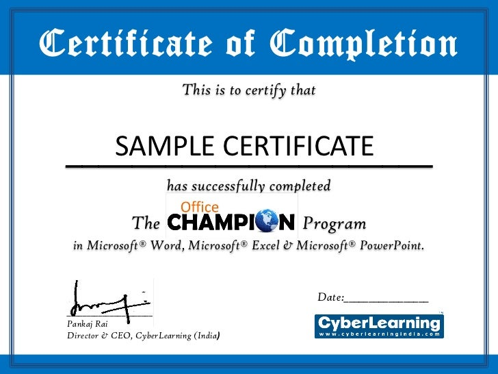 Office champion sample certificate office champion sample certificate certificate of completion this is to certify that yadclub Choice Image