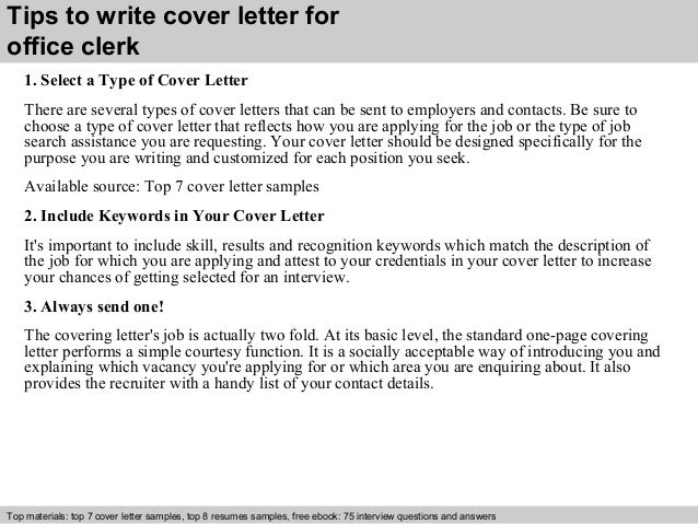 3 tips to write cover letter for office clerk. Resume Example. Resume CV Cover Letter