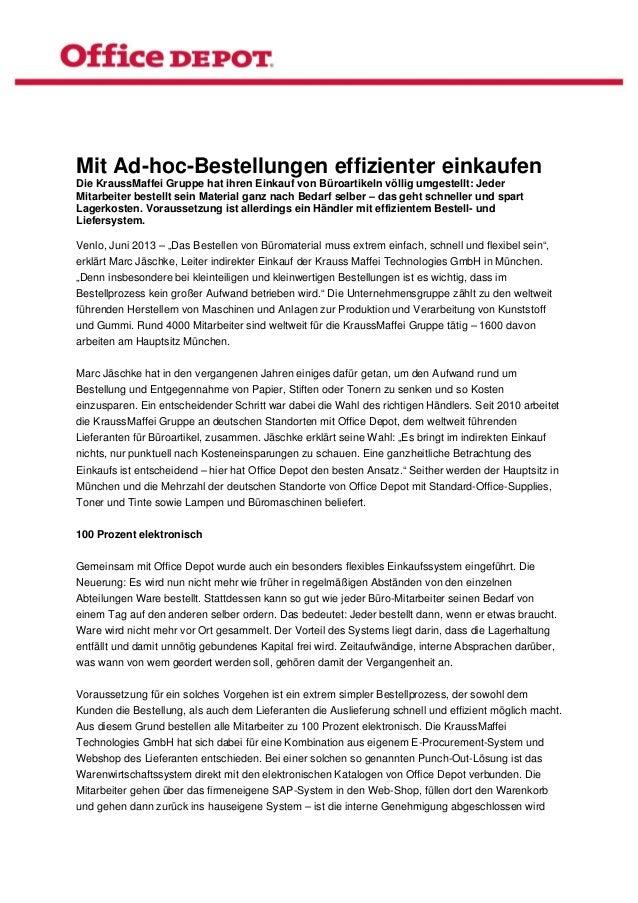 Mit Ad-hoc-Bestellungen effizienter einkaufenDie KraussMaffei Gruppe hat ihren Einkauf von Büroartikeln völlig umgestellt...