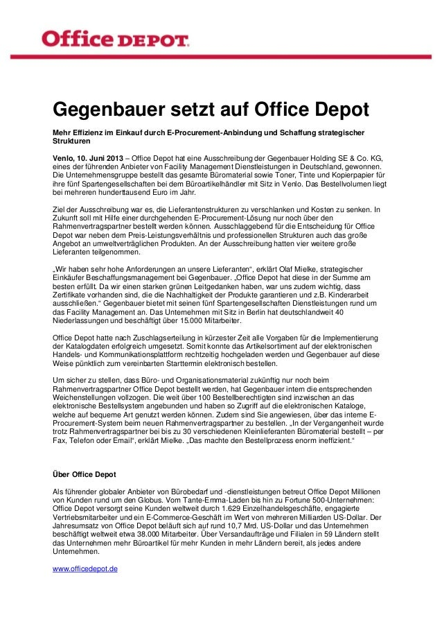 Gegenbauer setzt auf Office DepotMehr Effizienz im Einkauf durch E-Procurement-Anbindung und Schaffung strategischerStruk...
