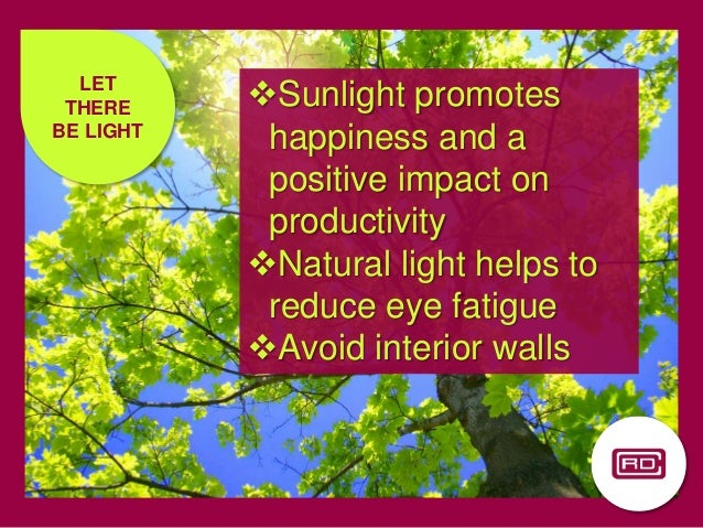 LET THERE BE LIGHT Sunlight promotes happiness and a positive impact on productivity Natural light helps to reduce eye f...