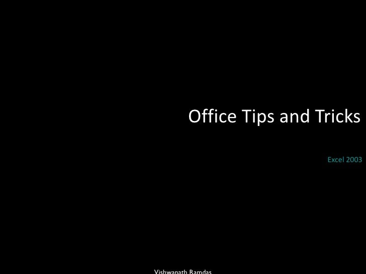 Office Tips and Tricks  Excel 2003