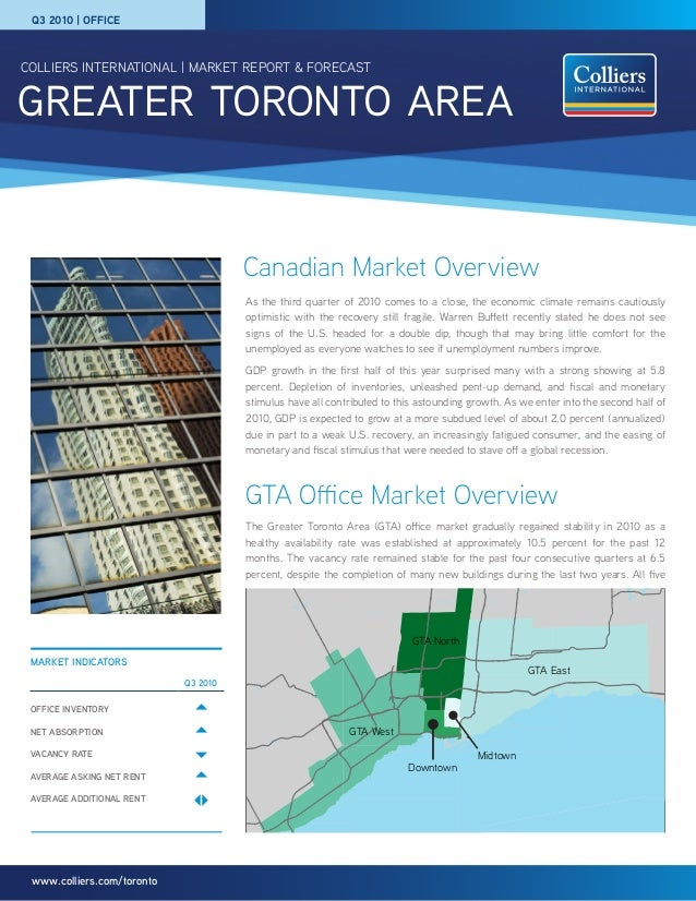 greater toronto area COLLIERS INTERNATIONAL | MARKET REPORT & FORECAST www.colliers.com/toronto Canadian Market Overview M...