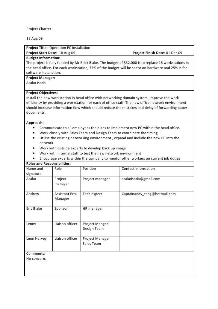 software project charter template - office group project charter