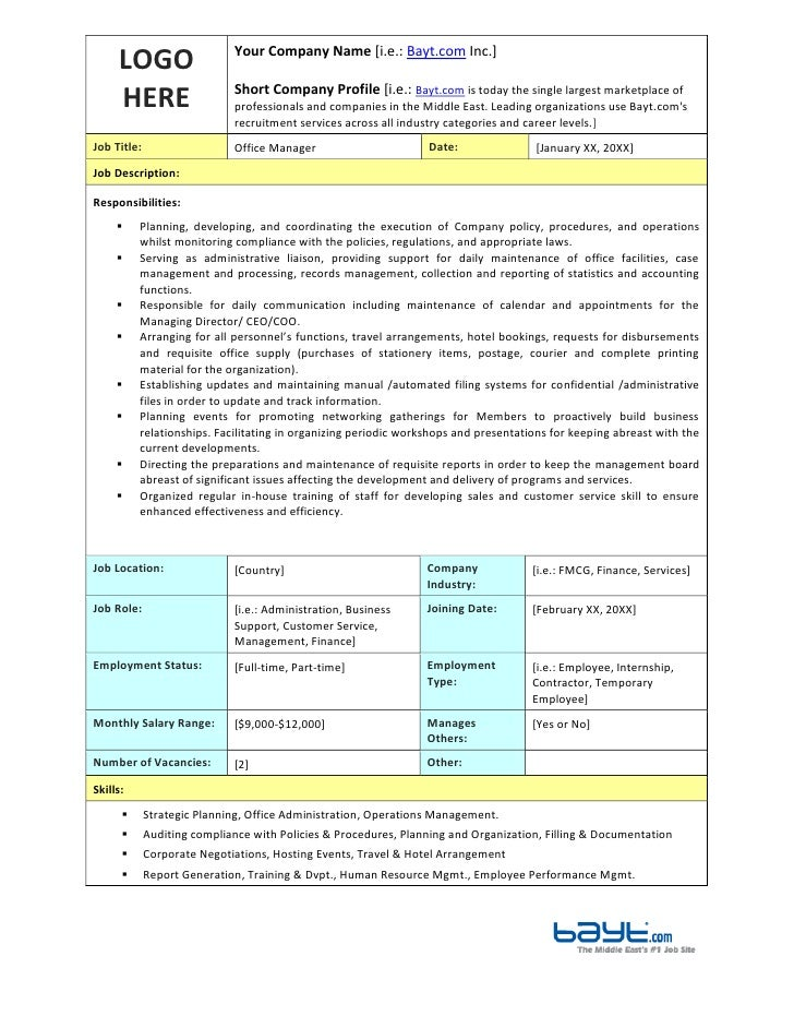 Office Manager Job Description Template by Bayt.com