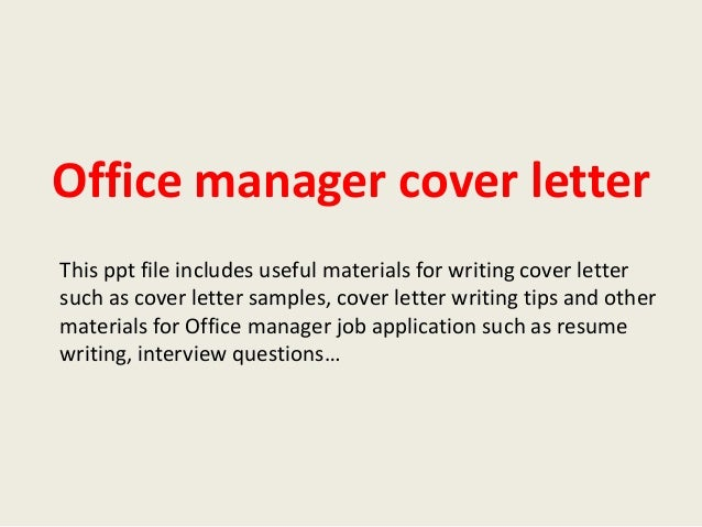 office manager cover letter office manager cover letter 23831 | office manager cover letter 1 638