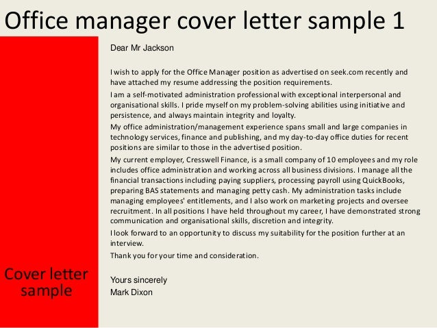 Office manager cover letter for Covering letter for office administrator