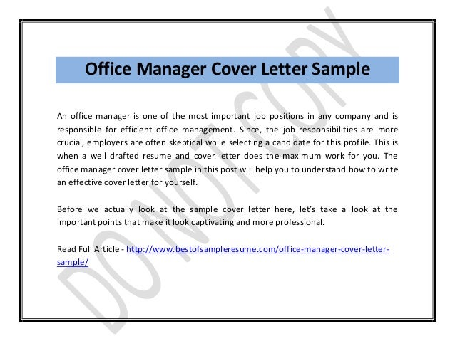 Office Manager Cover Letter Formatted Templates Example
