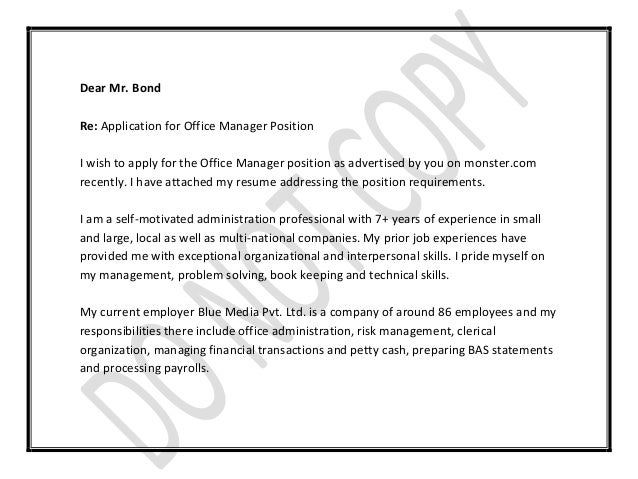 Office manager cover letter for Applying for management position cover letter