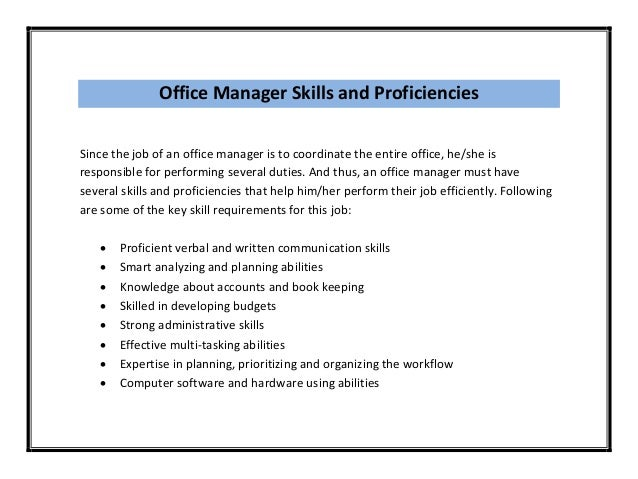 Sample ...  Office Skills Resume