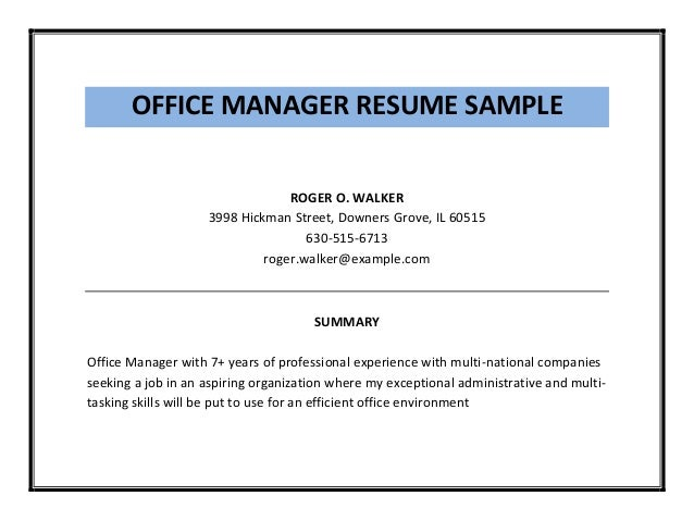 Office Manager Resume Sample Pdf