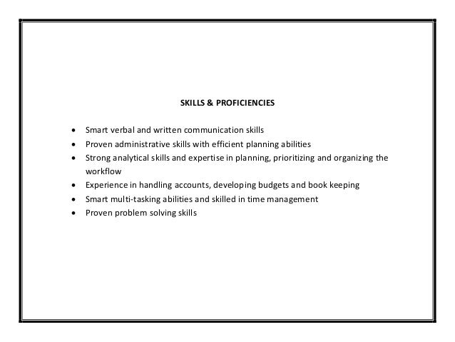 SKILLS ...  Resume Skills And Abilities Examples
