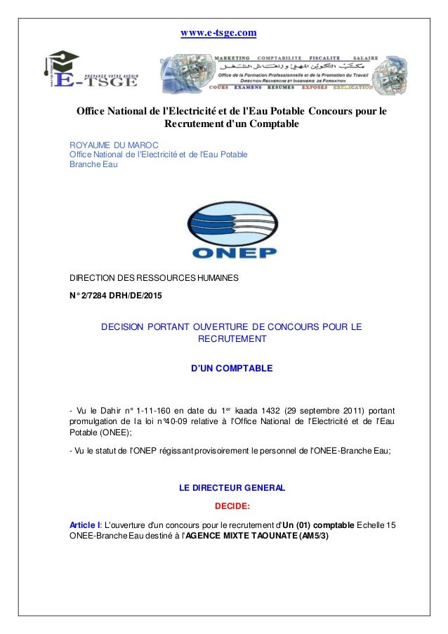 www.e-tsge.com Office National de l'Electricité et de l'Eau Potable Concours pour le Recrutement d'un Comptable ROYAUME DU...