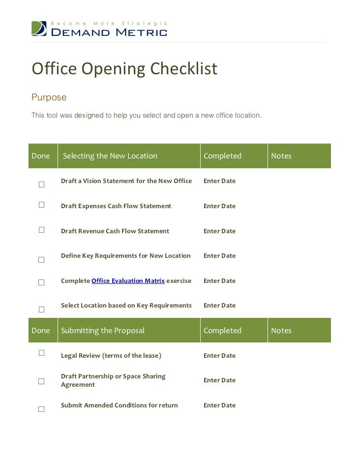 office opening checklist