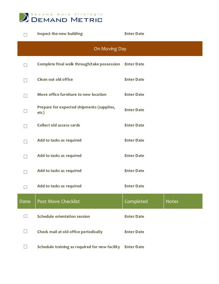 Office opening checklist for New build checklist