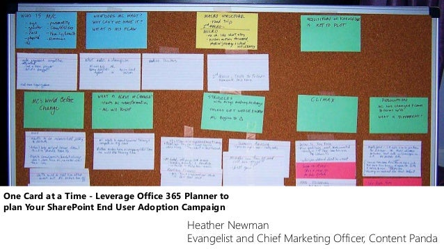 One Card at a Time - Leverage Office 365 Planner to plan Your SharePoint End User Adoption Campaign Heather Newman Evangel...