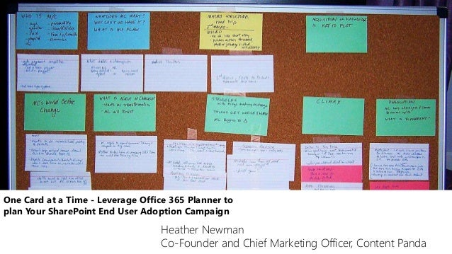 One Card at a Time - Leverage Office 365 Planner to plan Your SharePoint End User Adoption Campaign Heather Newman Co-Foun...