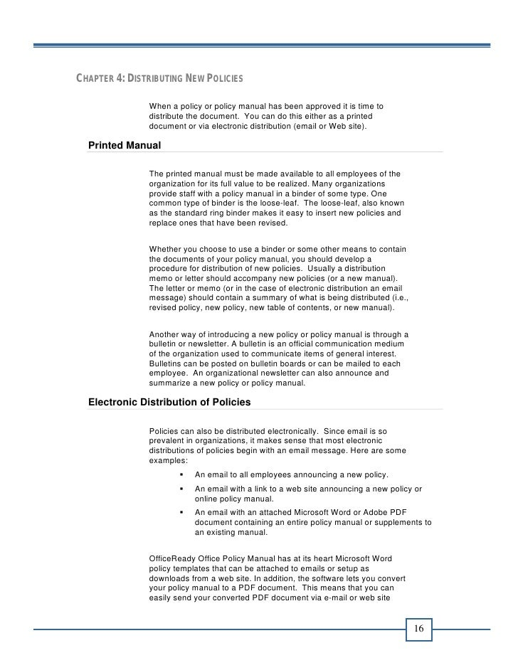 Office Policy Manual Ebook 108 – Sample Office Manual Template