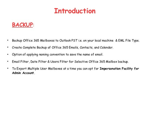 Office365 backup and Restore