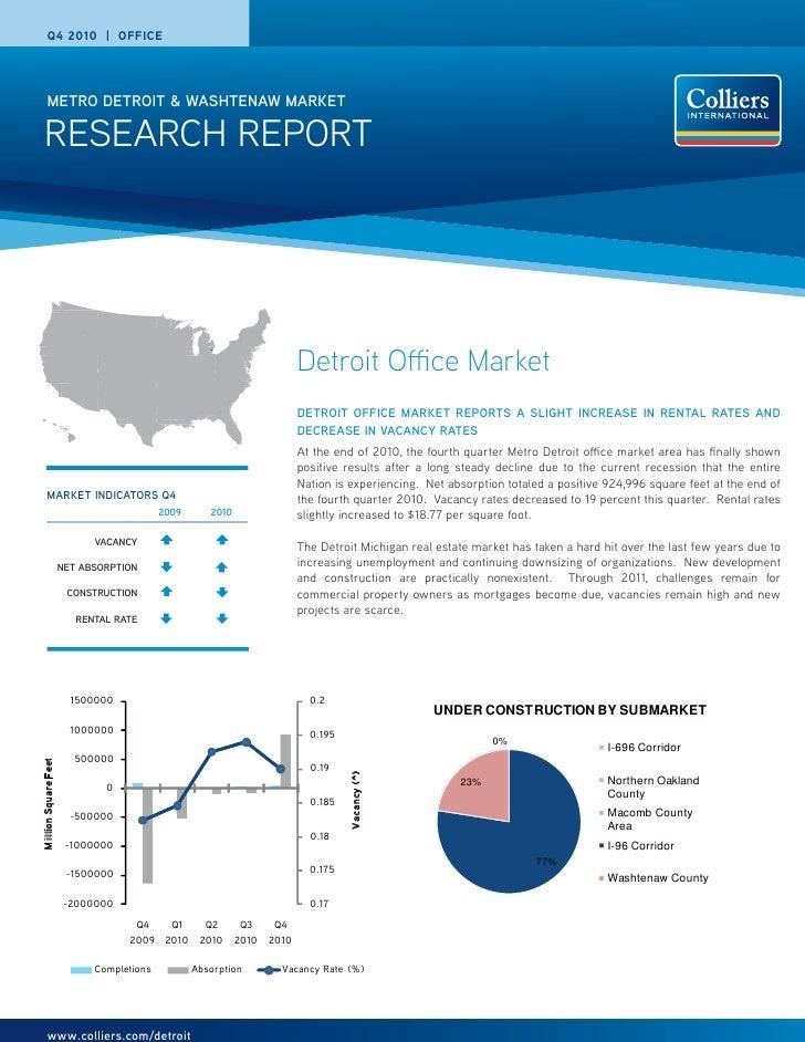 Q4 2010 | OFFICE       METRO DETROIT & WASHTENAW MARKET RESEARCH REPORT                                                   ...