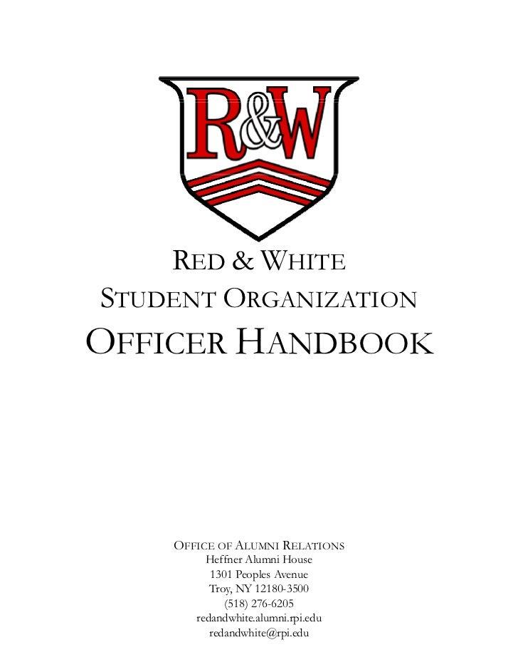 RED & WHITESTUDENT ORGANIZATIONOFFICER HANDBOOK    OFFICE OF ALUMNI RELATIONS         Heffner Alumni House          1301 P...