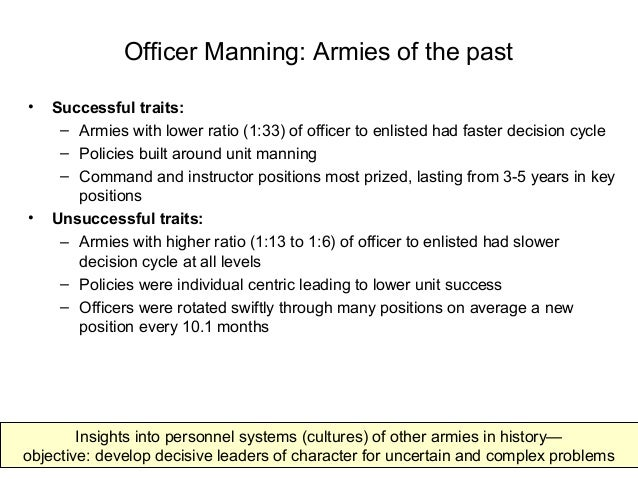 Officer Manning: Armies of the past • Successful traits: – Armies with lower ratio (1:33) of officer to enlisted had faste...