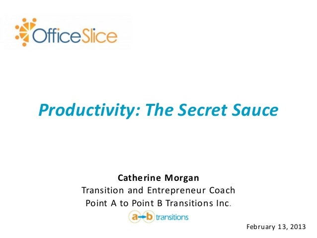 Productivity: The Secret Sauce              Catherine Morgan     Transition and Entrepreneur Coach      Point A to Point B...