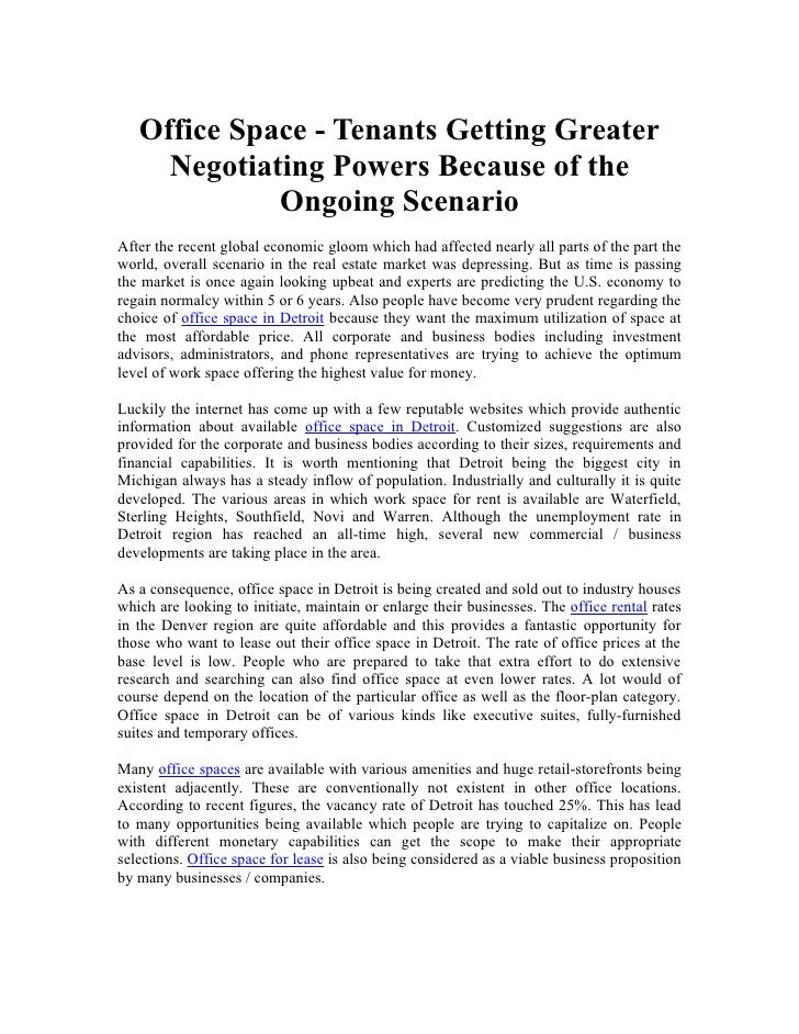 Office Space - Tenants Getting Greater      Negotiating Powers Because of the              Ongoing Scenario After the rece...