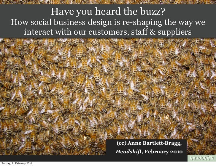 Have you heard the buzz?        How social business design is re-shaping the way we          interact with our customers, ...
