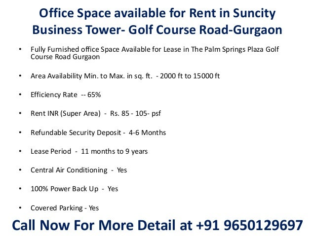 Office space available for rent in suncity business tower golf cours - Rent space for small business minimalist ...