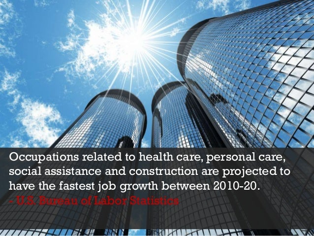 Occupations related to health care, personal care, social assistance and construction are projected to have the fastest jo...