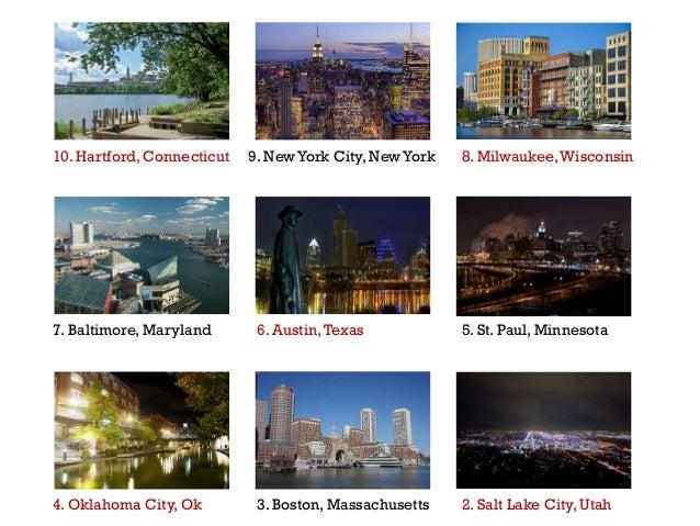 10. Hartford, Connecticut 9. New York City, New York 8. Milwaukee,Wisconsin 7. Baltimore, Maryland 4. Oklahoma City, Ok 6....