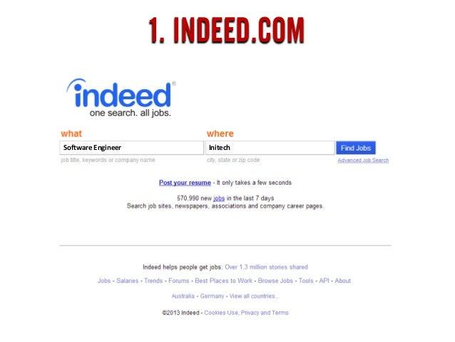 1. INDEED.COM Software Engineer Initech