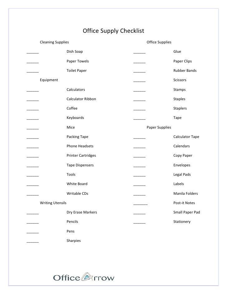 office supplies checklist template