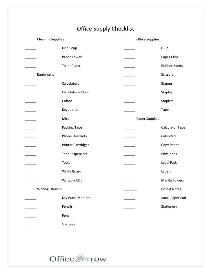 Office Supply Checklist Cleaning Supplies ... Intended Office Supplies Checklist Template
