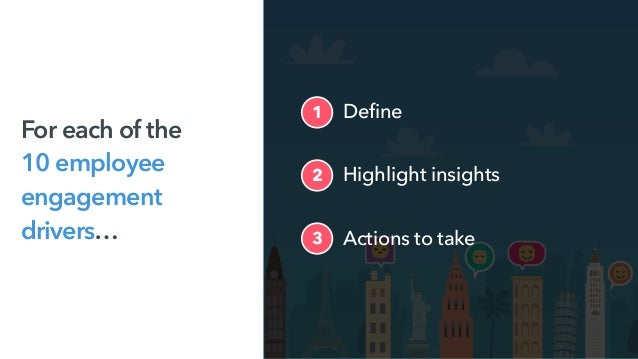 Highlight insights2 Actions to take3 1 Define For each of the 10 employee engagement drivers…