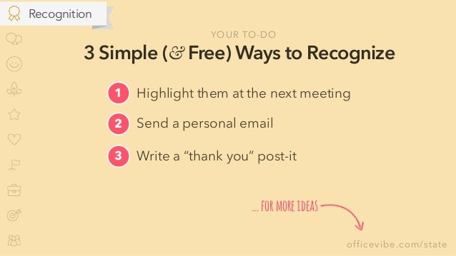 """officevibe.com/state 3 Simple (& Free) Ways to Recognize Send a personal email2 Write a """"thank you"""" post-it3 1 Highlight t..."""